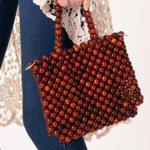 Wooden Beaded Crossbody Bag